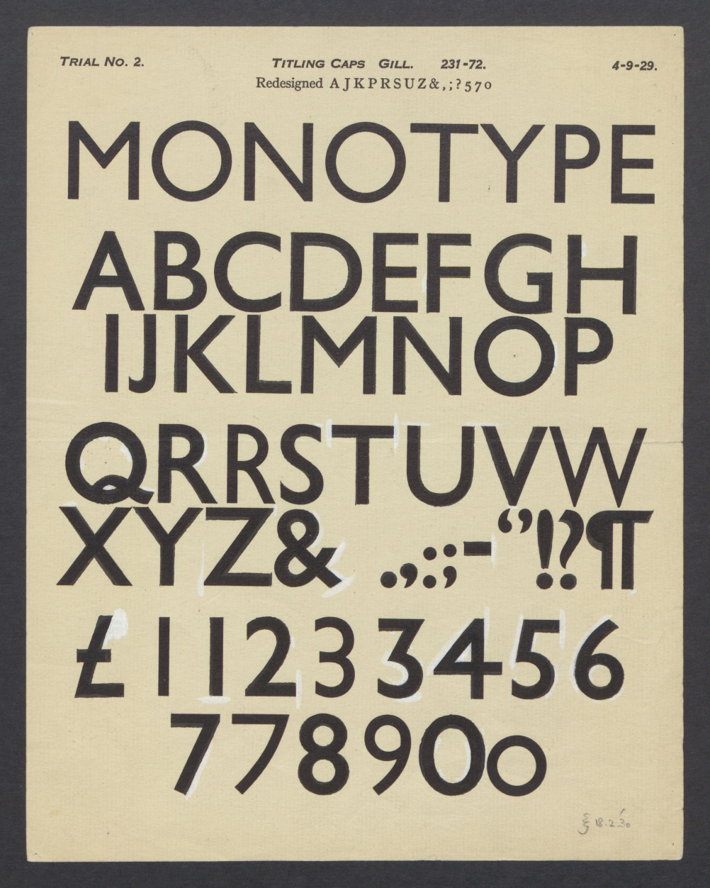In 1930 Gill investigated another weight of the Titling Caps by drawing over a proof set a few months earlier
