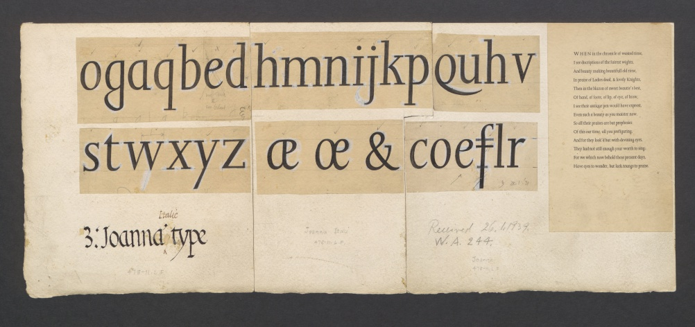Original 1939 ink drawings by Eric Gill used as reference by Monotype's Type Drawing Office to prepare its version of Joanna Italic