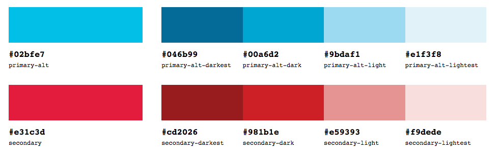 Secondary colour palette