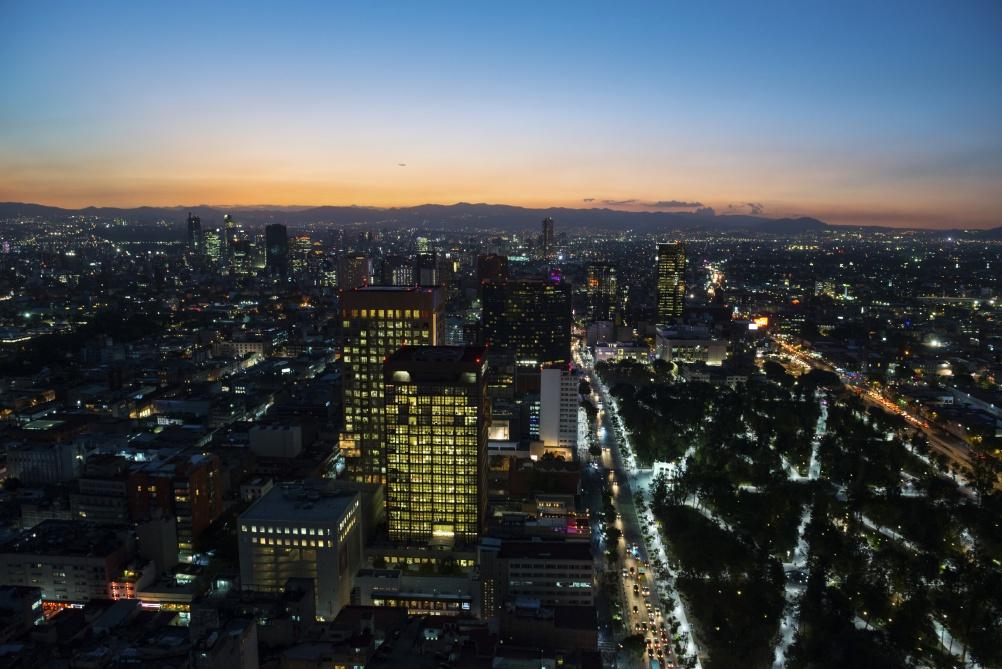 Mexico City skyline at sunset
