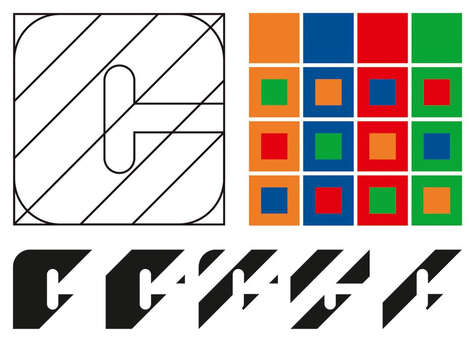 """Design system from 1973 for Canadian outdoor advertising organization Claude Neon Limited by Gottschalk+Ash. Five versions of the initial letter """"C"""" of the company name were used for the logo, complemented by a palette of four colors in various combinations"""