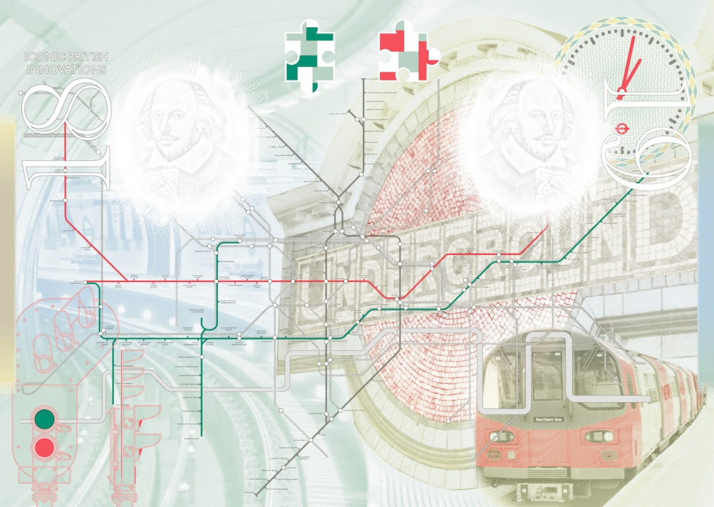The London Underground: Waterloo Underground Station; mosaic of Underground roundel at Maida Vale; Harry Beck-designed Tube Map; a set of signals and a modern Tube train.