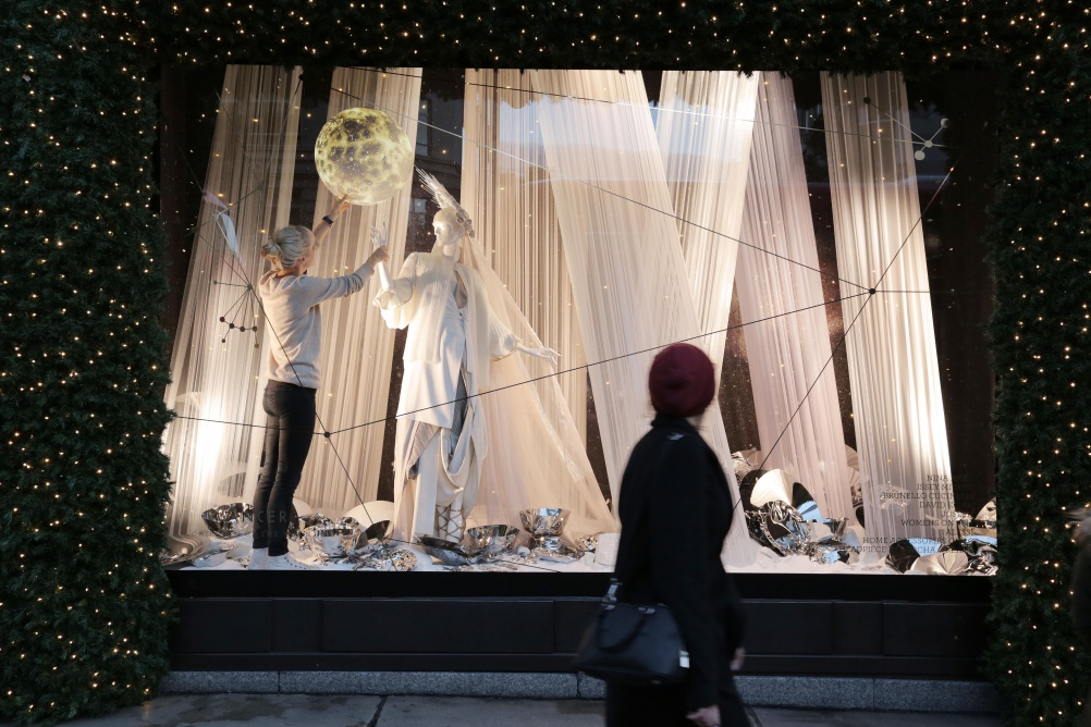A creative team member puts the finish touches to the window depicting Cancer. PHOTO MATT WRITTLE © copyright Matt Writtle 2015. Selfridges reaches for the stars with the launch of it's new Christmas Windows. The festive theme, Journey to the Stars, which runs throughout the store, was inspired by the symbolic Christmas star and is a playful take on astrology and constellations. Combined with a celestial mix of product, the 12 windows on Oxford Street features the 12 signs of the zodiac, whilst referencing the relevant planets that influence them. The largest windows of the London store is triple-sided and showcases a giant fully rotating orrery made to scale. For further information and images, please contact: Bruno Barba Senior Brand PR Manager T +44 (0)20 7318 3204 E bruno.barba@selfridges.co.uk Jillian Macpherson Assistant Brand PR Manager T +44 (0)20 7318 3987 E jillian.macpherson@selfridges.co.uk Selfridges London.