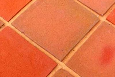 Orange floor tiles