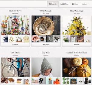 Etsy draws traffic from Pinterest