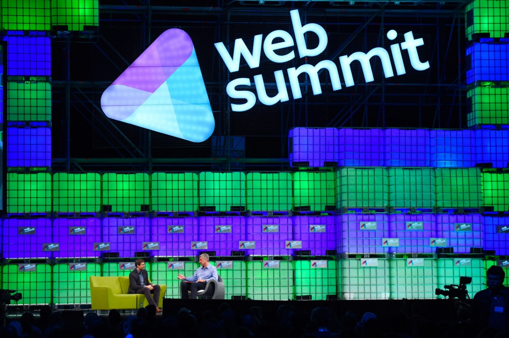 Twitter's head of global revenue Adam Bain (left) at the Web Summit, Dublin