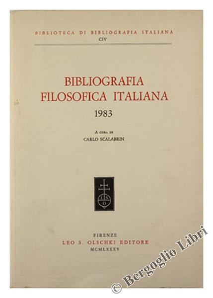 BIBLIOGRAFIA FILOSOFICA ITALIANA - Anno 1983.