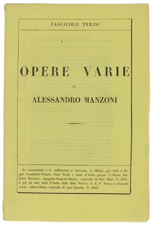 OPERE VARIE. Edizione riveduta dall'Autore. Fascicolo Terzo.