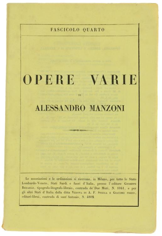 OPERE VARIE. Edizione riveduta dall'Autore. Fascicolo Quarto.