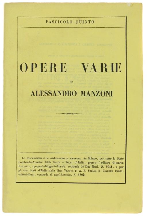 OPERE VARIE. Edizione riveduta dall'Autore. Fascicolo Quinto.
