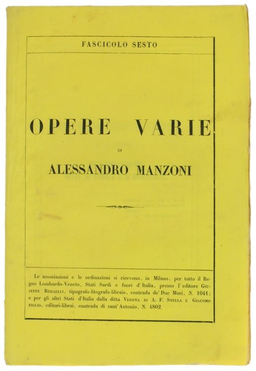 OPERE VARIE. Edizione riveduta dall'Autore. Fascicolo Sesto.