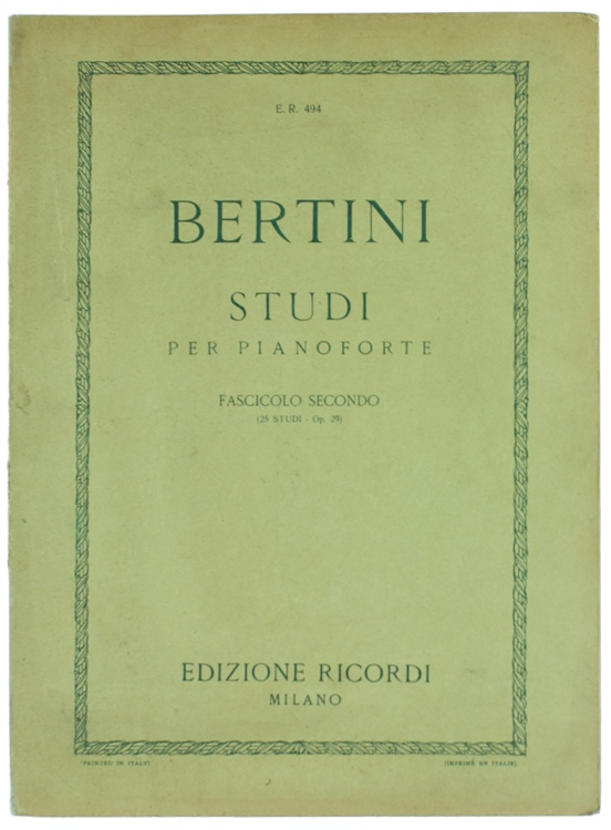 STUDII PER PIANOFORTE - Fascicolo II. - Venticinque studii Op. 29. Nuova edizione riveduta da Bruno Mugellini.
