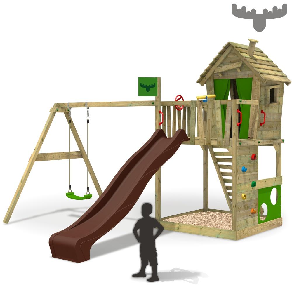 Komplett Neu FATMOOSE HappyHome Hot XXL Spielturm Baumhaus Kletterturm Schaukel  SX04