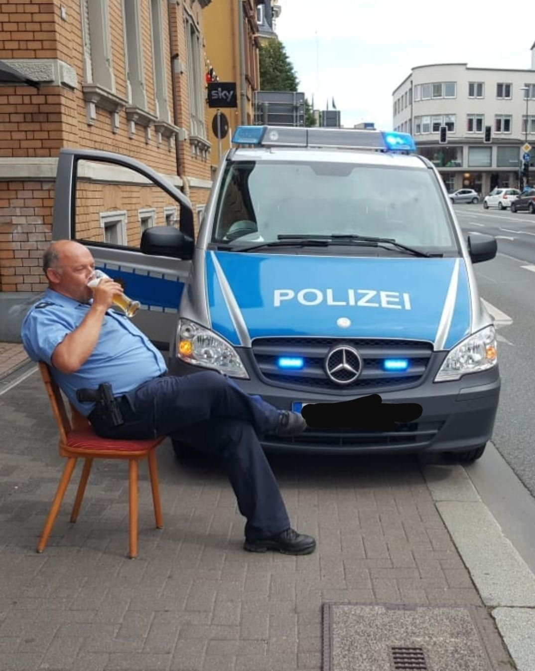 A German policeman in his natural environment