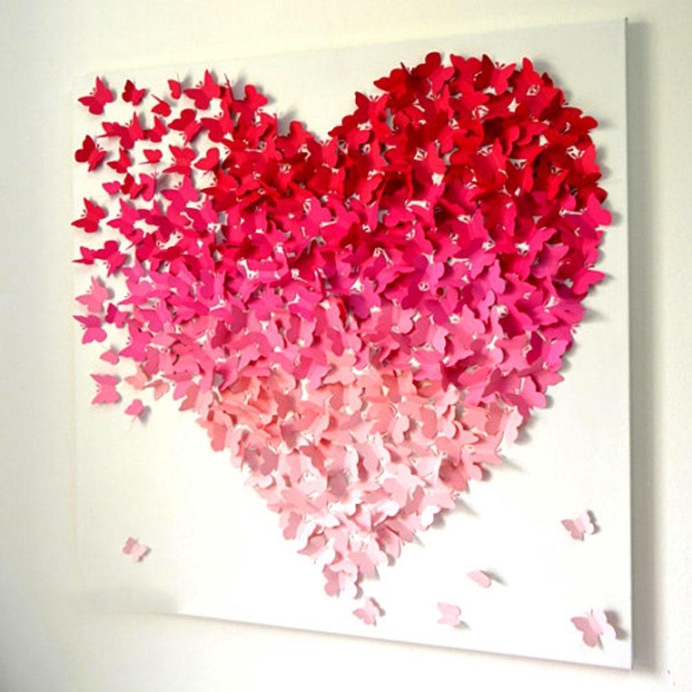 Объемные сердца своими руками на стену