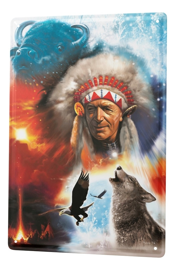 blechschild western cowboy indianer deko wolf bison adler metallschild 20x30 cm ebay. Black Bedroom Furniture Sets. Home Design Ideas