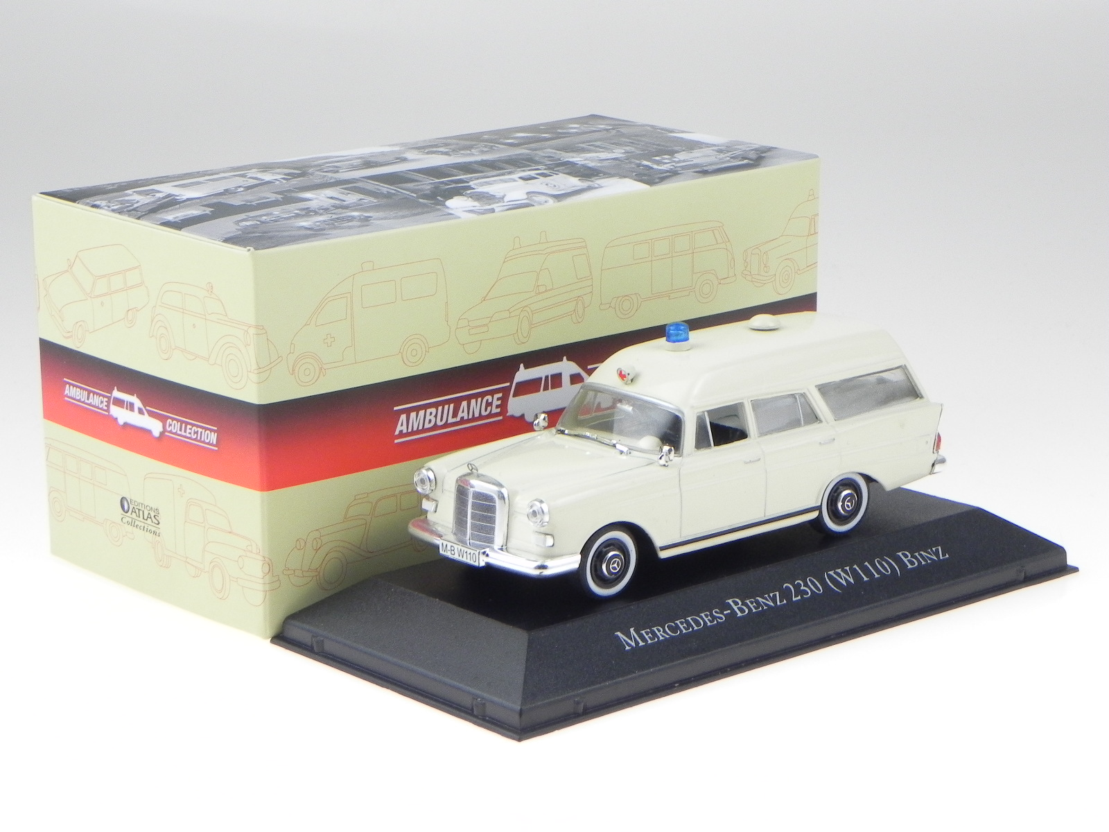 Mercedes W110 230 Kombi Binz Krankenwagen Modellauto 495001 Atlas 1:43