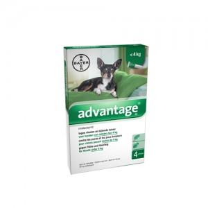 Advantage 40 hond <4kg - 4 x 0.4 ml