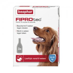Beaphar 10-20 kg 3 pip fiprodog tegen teken en vlooien