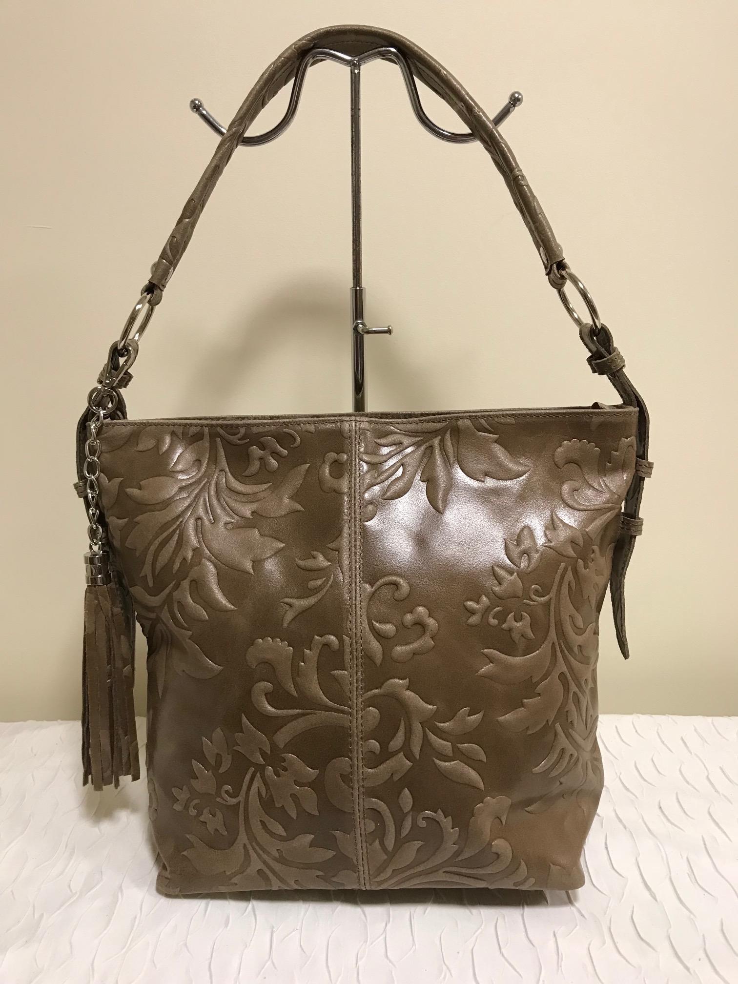 820bf2c8e4 Nyomott mintás gyönyörű valódi olasz bőr táska - barna - Orsi Outlet
