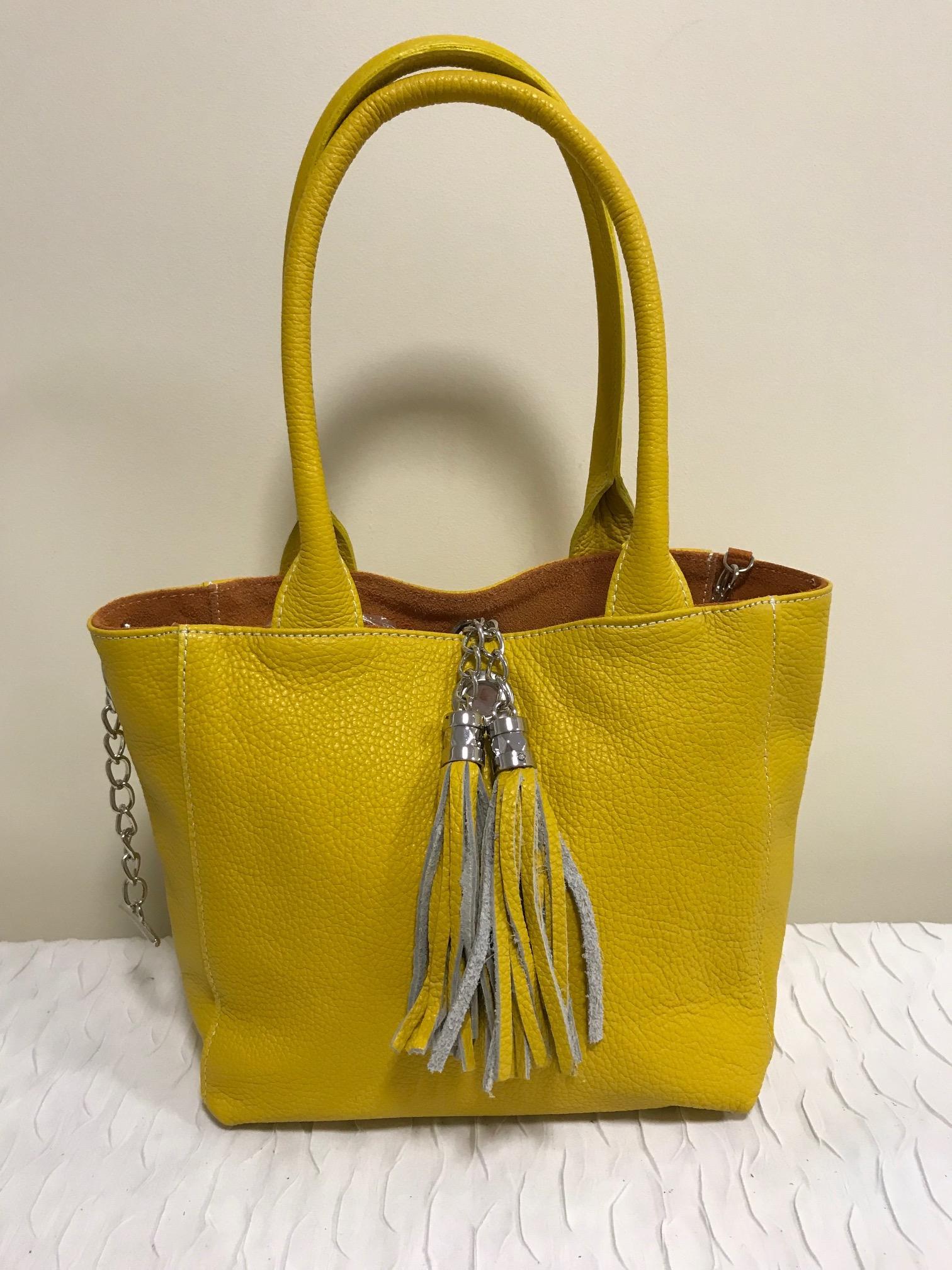 bc82a5b302 Kifordítható valódi olasz bőr táska - sárga - Orsi Outlet