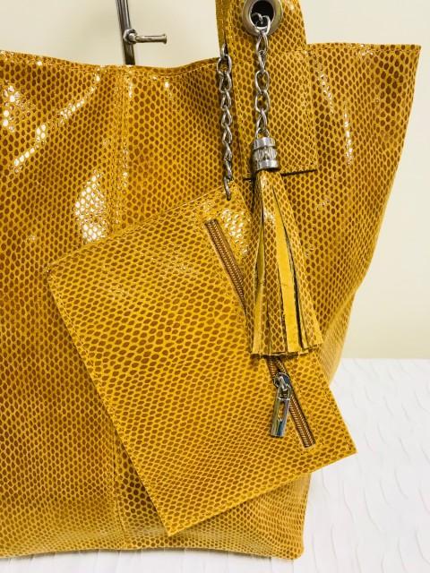 Piton mintás valódi bőr shopper - mustár - Orsi Outlet f4c3227709