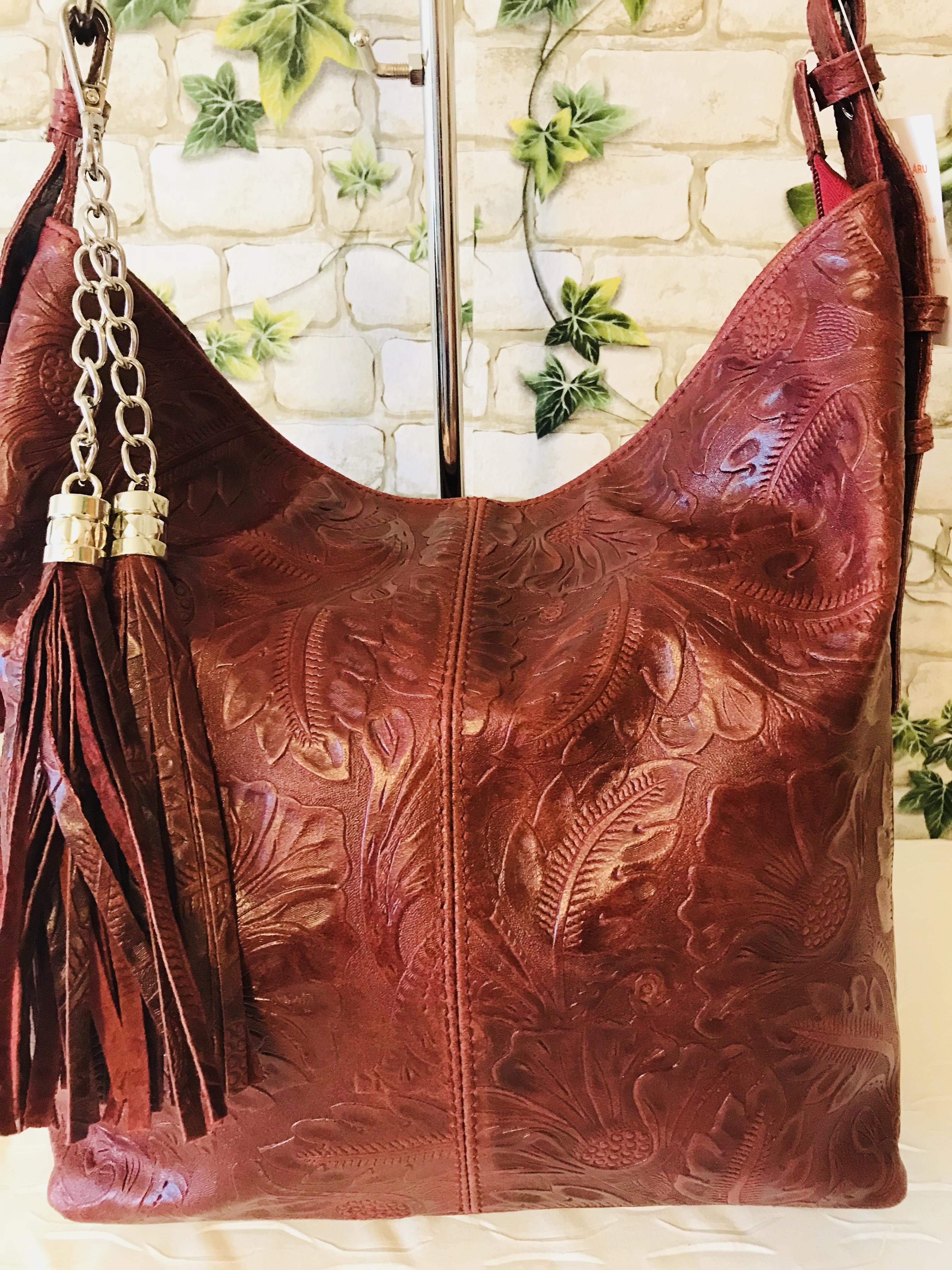 01772734d2 Valódi olasz bőr táska gyönyörű mintával - bordó - Orsi Outlet