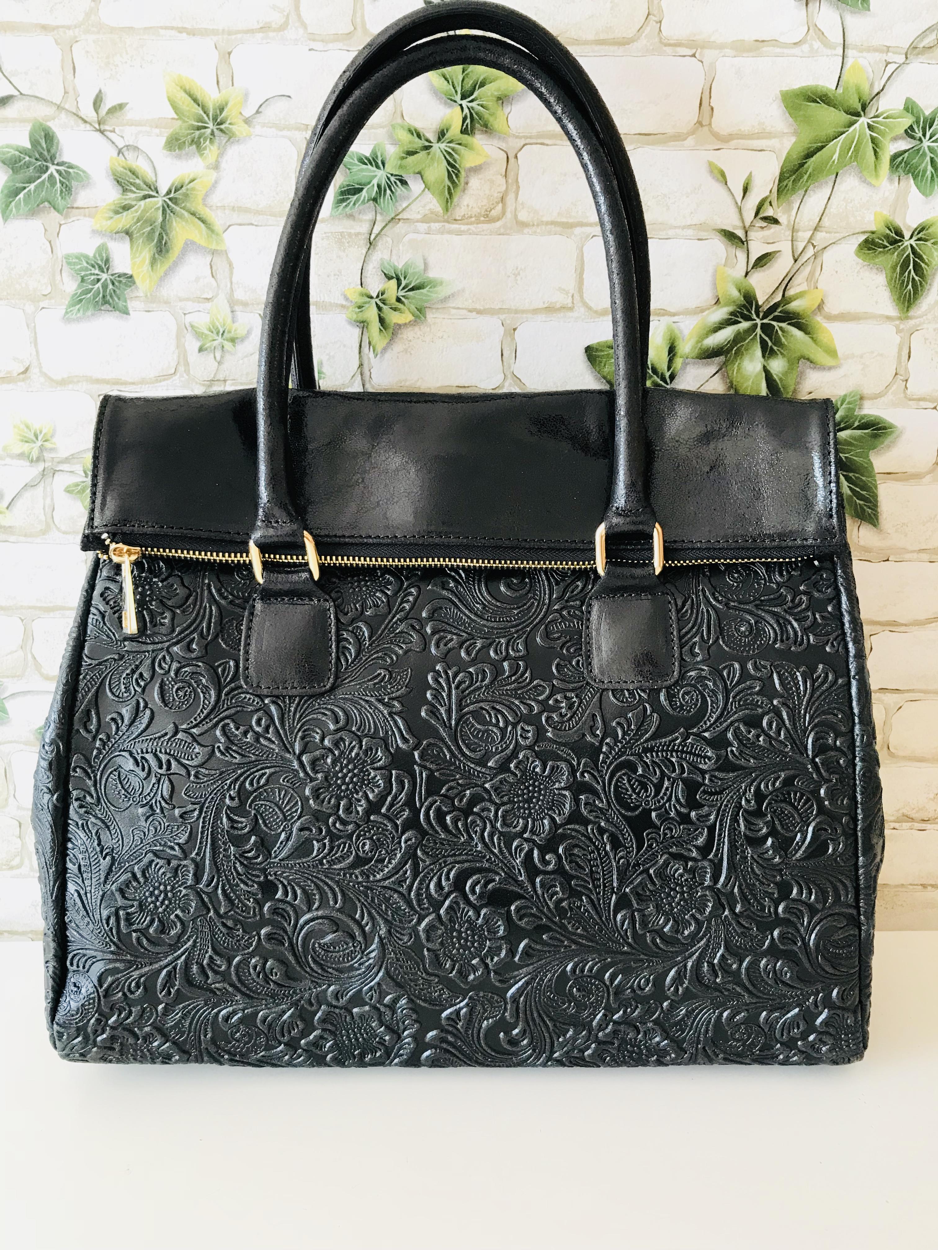 e3db5a8638 Róma valódi olasz bőr táska fekete mintás - Orsi Outlet