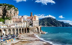 De gekleurde huisjes in Amalfi