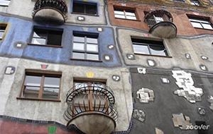 Hundertwasserhaus met haar kleurrijke huizen