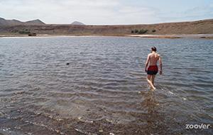 Dobberen in het zoute water van de Salinas