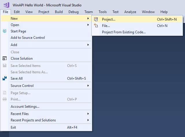 Новое окно VisualStudio WinAPI