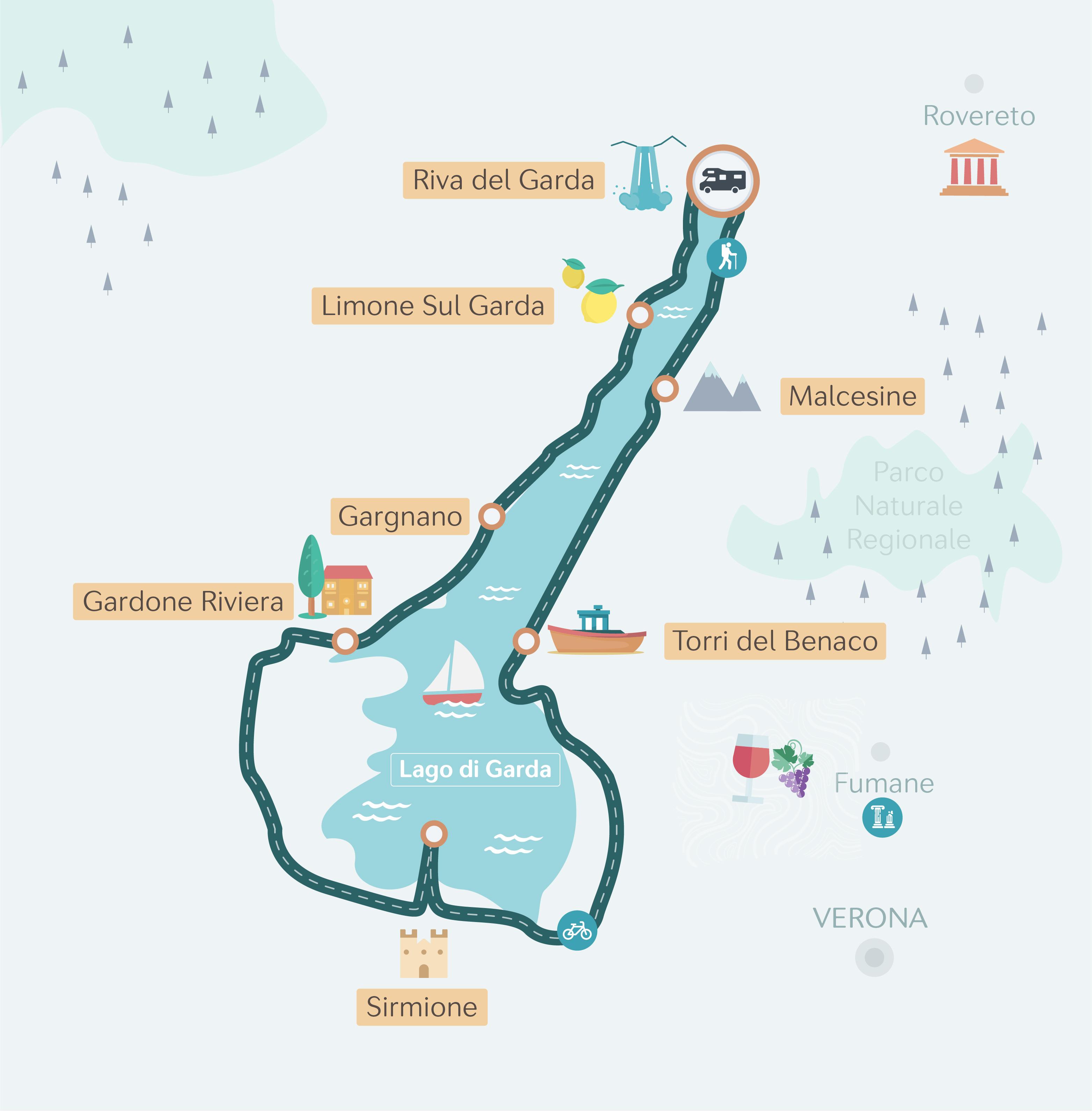 Karte einer Wohnmobil-Route um den Gardasee.