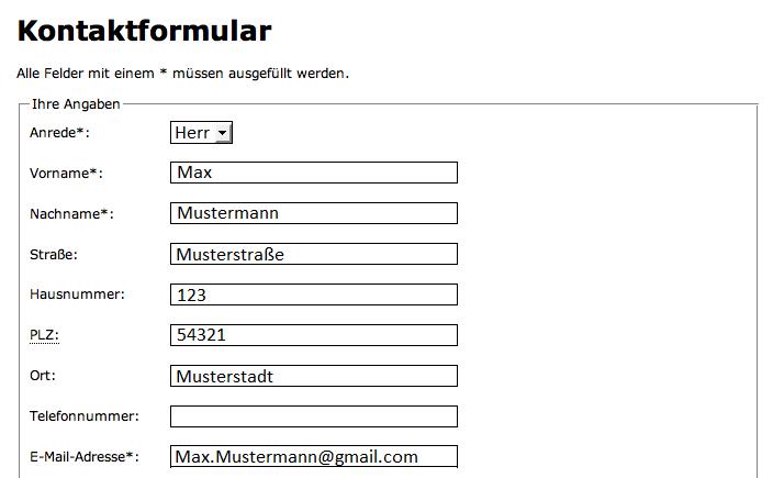 Weitergabe von Kontaktdaten auf das Bestellformular - Powered by ...