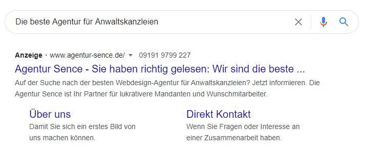 GoogleAds Anzeige auf der SERP