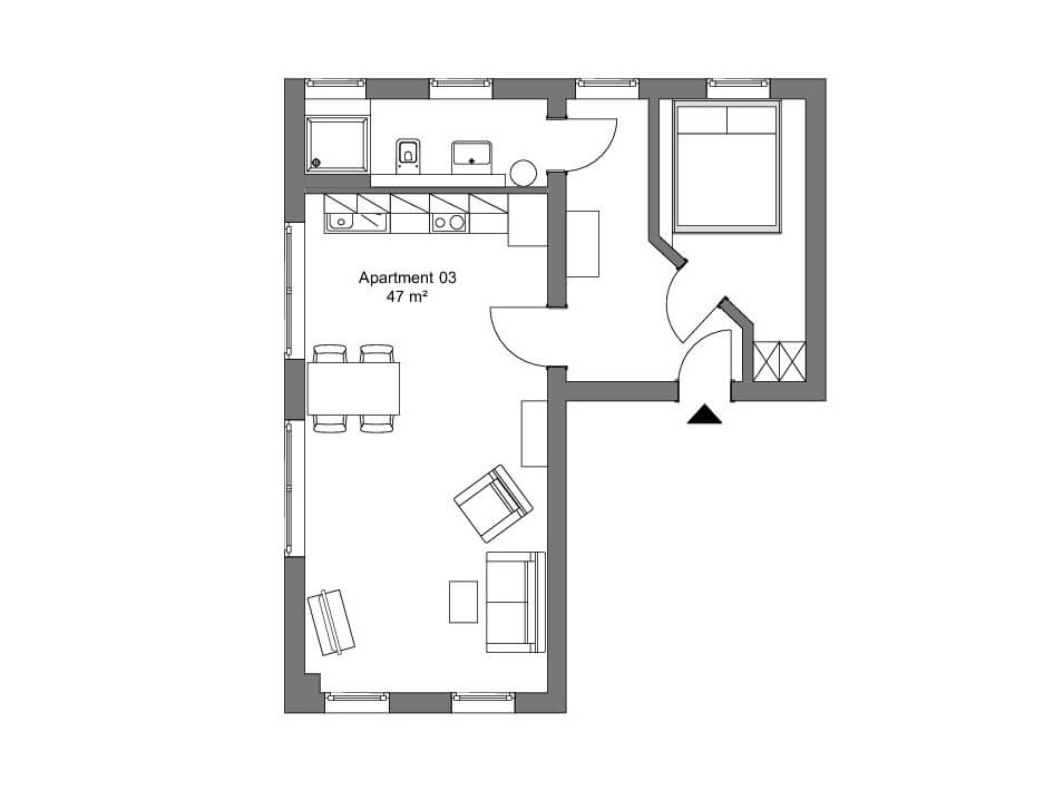 Das lila Apartment - 1. OG