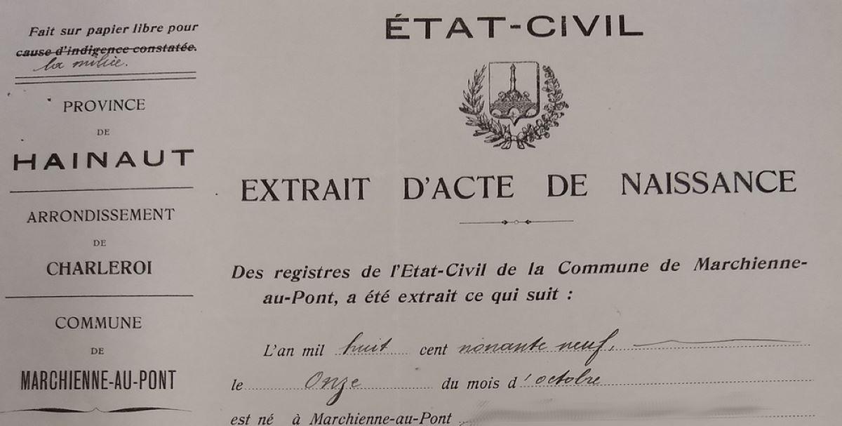 L'acte de naissance en Belgique