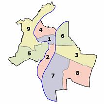 Carte des arrondissements de Lyon