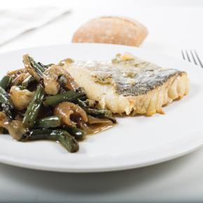 Bilbao-style cod with garlic crunchy vegetables