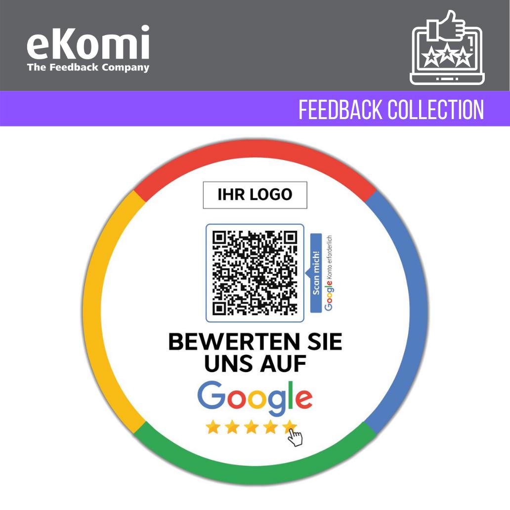 """Personalisierte """"Bewerten Sie uns auf Google"""" Aufkleber EUR"""