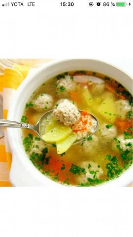 Суп с фрикадельками😶