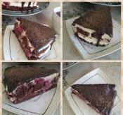 Шоколадный торт с вишней и сметанным кремом без глютена - фото приготовления рецепта шаг 15