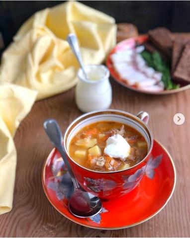 Густой суп из перловки и квашеной капусты🍲