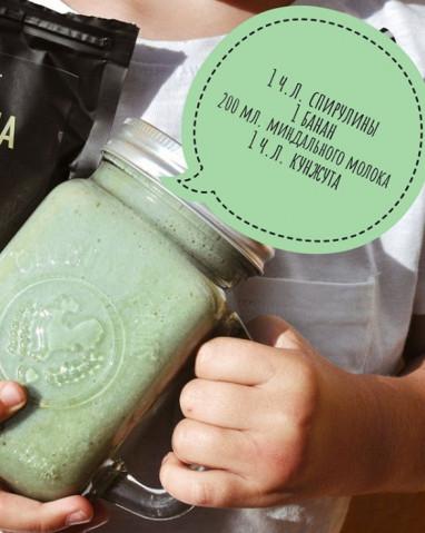 Cмузи с зеленой водорослью спирулиной