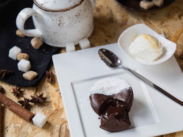 Шоколадный фондан без муки