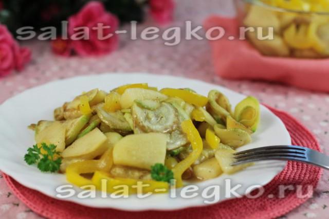 Салат из кабачков, пастернака и яблок