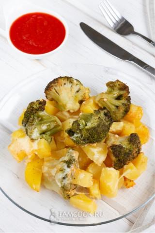 запечённый  картофель с брокколи 🥔+🥦
