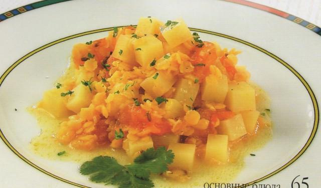 Овощи с красной чечевицей и соусом карри