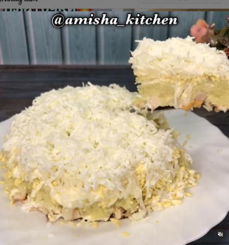 Салат «Невеста» с копченой курицей
