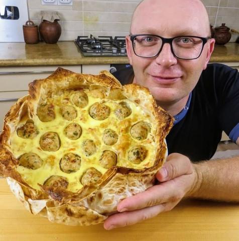 Чудо пирог из лаваша с капустой и фаршем